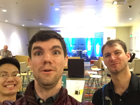 picture of myself with two friends at Fluent Conf in SF